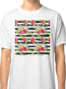 Watercolor pattern red flowers on black striped pattern Classic T-Shirt
