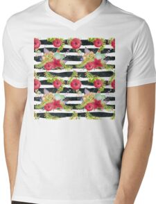 Watercolor pattern red flowers on black striped pattern Mens V-Neck T-Shirt