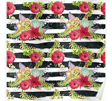 Watercolor pattern red flowers on black striped pattern Poster
