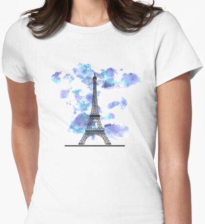 Paris Eiffel Tower Skyline Watercolor Sky Womens Fitted T-Shirt