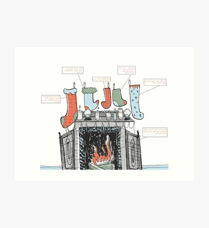 Stockings were hung by the chimney with care Art Print