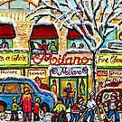 LITTLE ITALY GROCERY STORE MILANO MONTREAL HOCKEY WINTER SCENE PAINTING by Carole  Spandau