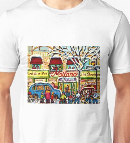 LITTLE ITALY GROCERY STORE MILANO MONTREAL HOCKEY WINTER SCENE PAINTING Unisex T-Shirt