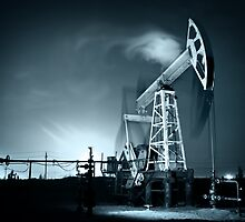Oil Rig at night. by bashta