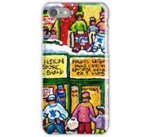 MONTREAL PARK EXTENSION DEPANNEUR WINTER HOCKEY SCENE PAINTING iPhone Case/Skin