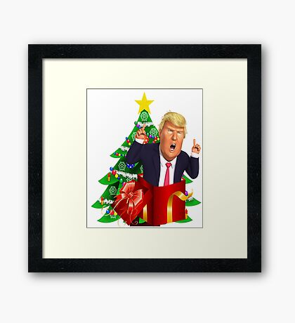 Funny Donald Trump Christmas Present Tree Holiday Nasty Women Deplorables Gag Gift Republican Democrat 2016 Election President  Framed Print