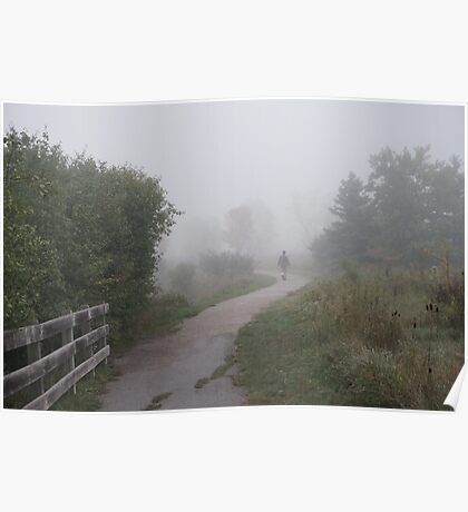 Man walking in the fog  Poster