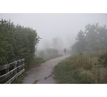 Man walking in the fog  Photographic Print