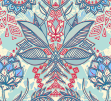Botanical Geometry - nature pattern in red, blue & cream Sticker