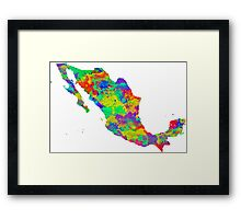 Mexico Watercolor Map Framed Print