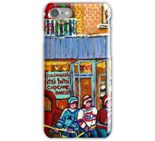 CUPCAKE BAKERY RUE NOTRE DAME MONTREAL ITSY BITSY BOULANGERIE HOCKEY SCENE ART iPhone Case/Skin