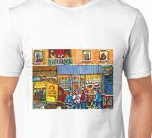 CUPCAKE BAKERY RUE NOTRE DAME MONTREAL ITSY BITSY BOULANGERIE HOCKEY SCENE ART Unisex T-Shirt