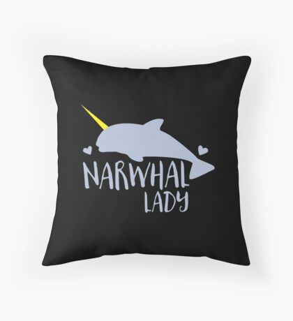 Narwhal lady Throw Pillow