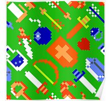 Legend of Zelda NES / items / pattern / green Poster