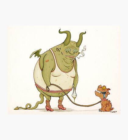 A demon and his dog... Photographic Print