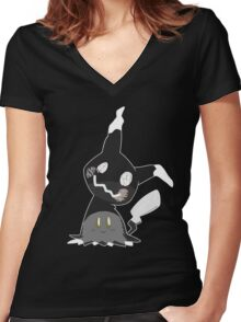 Pokemon Sun / Moon - Happy Mimikyu :) Women's Fitted V-Neck T-Shirt
