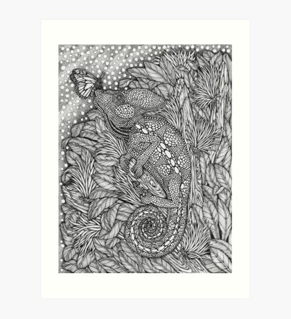 Chameleon And Butterfly Drawing Art Print