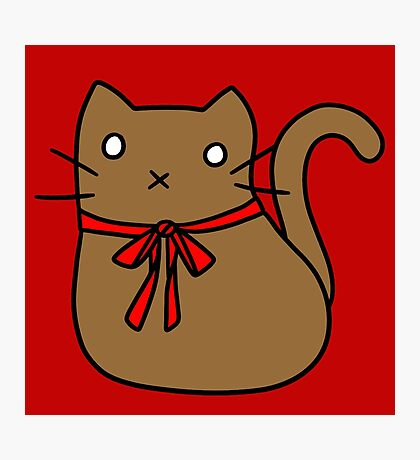 Red Ribbon Tie Brown Cat Photographic Print