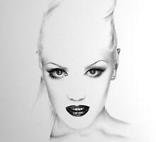 Gwen Stefani Minimal Drawing by IleanaHunterArt