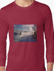 holy island in the xmas snow Long Sleeve T-Shirt