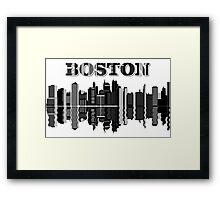 City of Boston - Skyline View In Black and White Sketch Design Framed Print