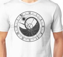 Trippy Vintage Retro Astrology Clock Black and White Design Unisex T-Shirt