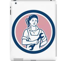 Female Mechanic Spanner Circle Retro iPad Case/Skin