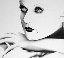 Jean Harlow Minimal Portrait by IleanaHunterArt
