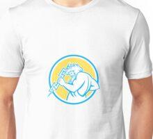 Zeus Wielding Thunderbolt Circle Retro Unisex T-Shirt