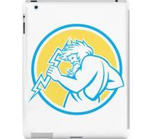 Zeus Wielding Thunderbolt Circle Retro iPad Case/Skin
