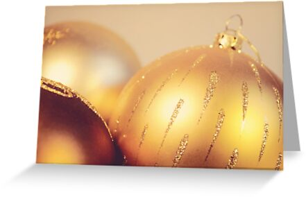 Gold Christmas baubles by Lyn  Randle