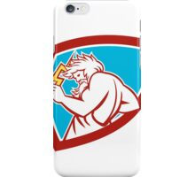 Zeus Wielding Thunderbolt Shield Retro iPhone Case/Skin