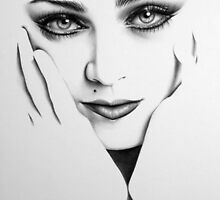 Madonna Minimal Drawing by IleanaHunterArt