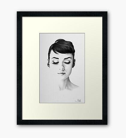 Audrey Hepburn Minimal Portrait Framed Print