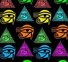 Eye of Horus, or Eye of Ra, Multicolored Egyptian by TropicalToad