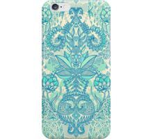 Botanical Geometry - nature pattern in blue, mint green & cream iPhone Case/Skin