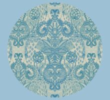 Botanical Geometry - nature pattern in blue, mint green & cream Kids Clothes