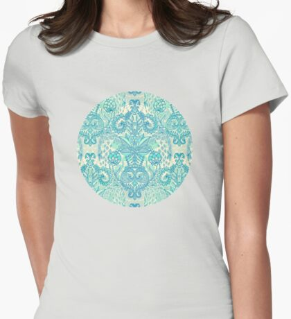 Botanical Geometry - nature pattern in blue, mint green & cream Womens Fitted T-Shirt