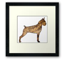 boxer brindle fur silhouette Framed Print