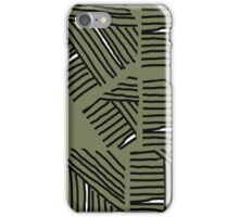 Line pattern black and olive green iPhone Case/Skin