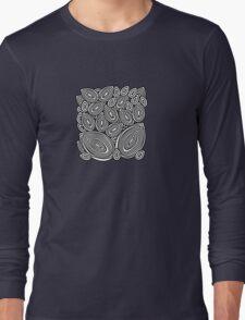 Black&white line art leaves Long Sleeve T-Shirt