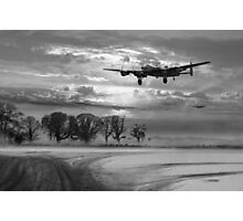 Morning return: Lancasters at sunrise B&W version Photographic Print