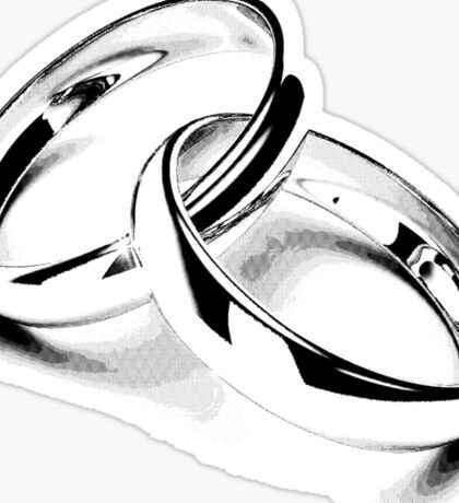 Wedding Bands. Just Married. Newlyweds. New Wife. New Bride. New Groom. New Husband. Wedding Rings. Sticker