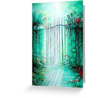 Green Skeleton Gate Greeting Card
