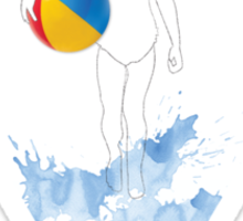 Dreamy Drawing girl on beach with ball Sticker