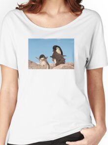 """Adelie Penguin and chicks ~ """"and WHEN do I get fed!!"""" Women's Relaxed Fit T-Shirt"""