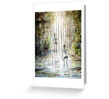 Grey Skeleton Gate Greeting Card
