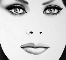 Sophia Loren Minimal Portrait by IleanaHunterArt