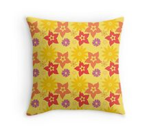 Sunny Flowers Floral Design Throw Pillow