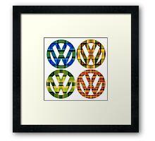 Volkswagen Plaid Patterns VW Logo Westfalia Bus Framed Print